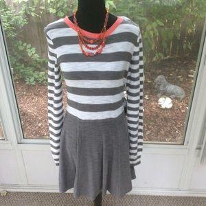 NWT Express Gray & White Striped Sweater Dress